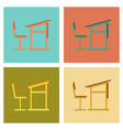 assembly flat icons school desk chair vector image vector image