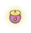 Baby bib comics icon vector image