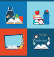back to school theme set with books vector image vector image