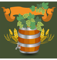 Barrel mug with wheat and hops vector image vector image