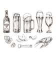 beer set and various snack vector image vector image