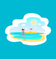 cheerful girl in red swimsuit near sea and island vector image vector image