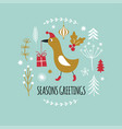christmas card cute bird in red hat with gift vector image