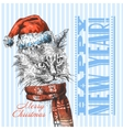 Christmas cat sketch vector image
