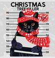 christmas tree killer cat vector image vector image