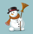 cute christmas snowman isolated on blue background vector image vector image