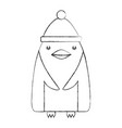 cute penguin with christmas hat vector image vector image