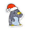 distressed sticker of a cute cartoon christmas vector image vector image