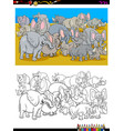 elephants and rhinos characters coloring book vector image vector image