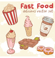 Fastfood delicious hand drawn set vector image vector image