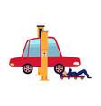 flat boy repairing car on lift vector image vector image