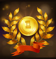 golden medal realistic composition vector image