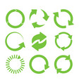 green round recycle icons set vector image vector image