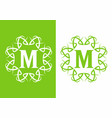 green white m initial letter in unique frame vector image