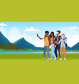 group tourists hikers with backpacks taking selfie vector image vector image