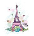 hand drawn flower love card eiffel tower vector image vector image