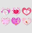 happy valentine s day tags set in the shape of a vector image vector image
