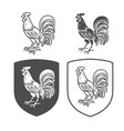 heraldic shields with cock vector image vector image