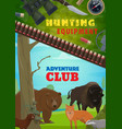 hunting equipment adventure club poster vector image vector image