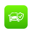 insurance car icon green vector image