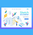 isometric sketch project development and design vector image