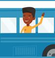 man waving hand from bus window vector image vector image
