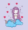 mermaid cute drawing vector image