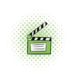 Movie clapper comics icon vector image