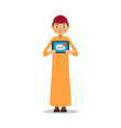 muslim with tablet young muslim guy stands and vector image vector image