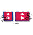 nepal or nepalese flag pattern postage stamp with vector image vector image