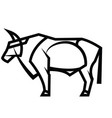 powerful horned standing bull vector image vector image