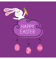 rabbit hare bunny carrot happy easter cloud frame vector image vector image