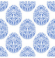 seamless pattern from eggs with blue floral vector image vector image