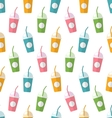 seamless pattern with colorful set milkshakes vector image