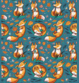 Seamless pattern with cute foxes in autumn leaves