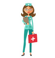smiling doctor wearing glasses with a stethoscope vector image vector image