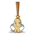 smirking broom character cartoon style vector image vector image