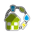 sticker house with save energy water and recycle vector image vector image