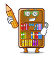 student cartoon bookcase in the shape wood vector image