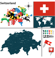 Switzerland map with regions and flags vector image vector image