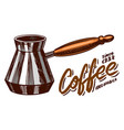 turk for brewing coffee in vintage style hand vector image vector image
