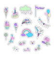 unicorn multicolor stickers with fireworks stars vector image vector image