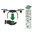 Unload Drone Hand Icon With Bonus vector image vector image