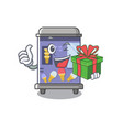with gift ice cream vending machine mascot shape vector image vector image