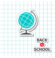 World globe back to school exercise book vector image