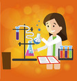 young smiling girl chemist does research in lab vector image