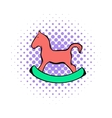 Wooden horse comics icon vector image