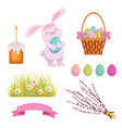 set of cartoon style easter decoration elements vector image