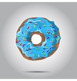 Sweet donut with blue glaze and many vector image