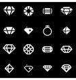 white diamond icon set vector image